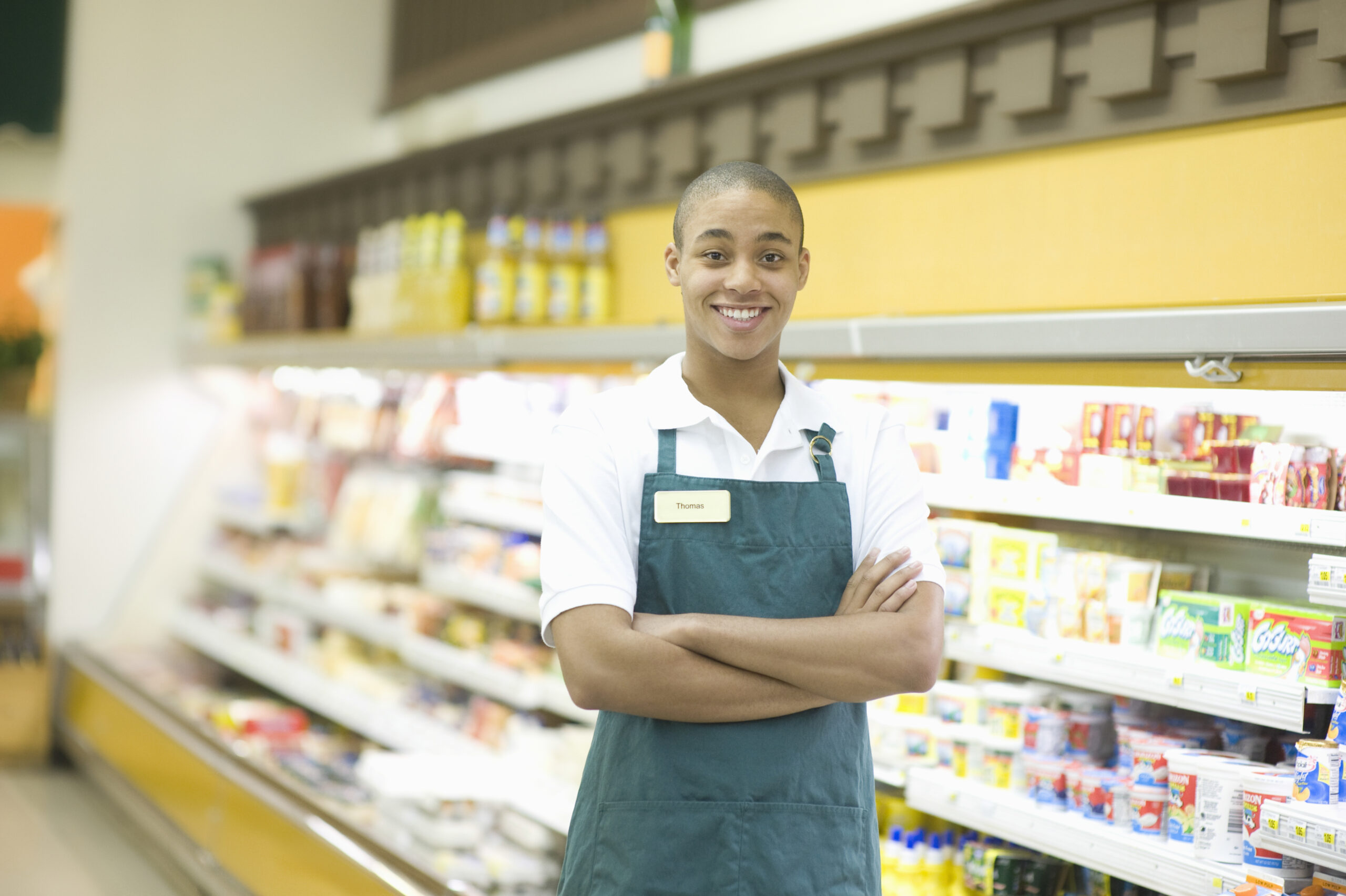 Teen summer job in a grocery store